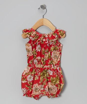 Red Ruffle Bubble Romper - Infant