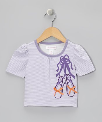 Lavender Stripe Slipper Puff-Sleeve Tee - Toddler & Girls