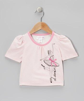 Blushing Bride Stripe 'Dance' Puff-Sleeve Tee - Toddler & Girls