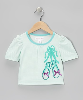 Bleached Aqua Stripe Slipper Puff-Sleeve Tee - Toddler & Girls