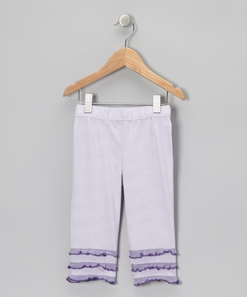 Lavender Stripe Ruffle Capri Pants - Toddler & Girls