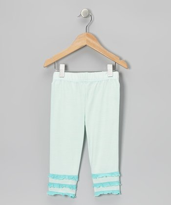 Bleached Aqua Stripe Ruffle Capri Pants - Toddler & Girls