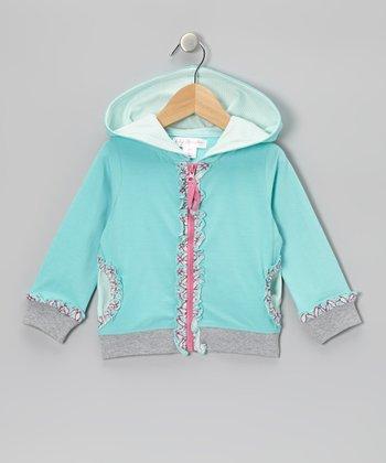 Aqua Sky Ruffle Hoodie - Toddler & Girls