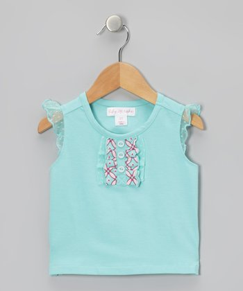 Aqua Sky Ruffle Angel-Sleeve Tee - Toddler & Girls