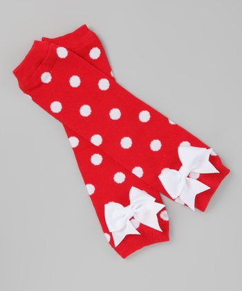 Red & White Polka Dot Bow Leg Warmers
