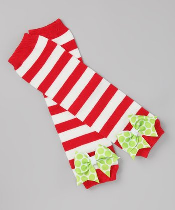 Red & White Stripe Bow Leg Warmers
