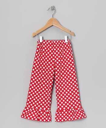 Red & White Polka Dot Ruffle Pants - Infant, Toddler & Girls