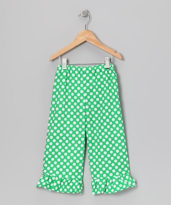 Green & White Polka Dot Ruffle Pants - Girls