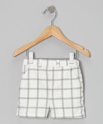 White Plaid Pirate Shorts - Toddler & Boys