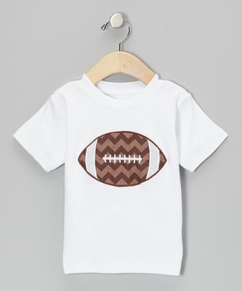 White & Brown Zigzag Football Tee - Infant, Toddler & Boys