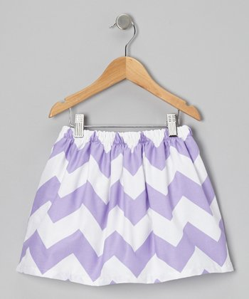 White & Purple Zigzag Skirt - Infant, Toddler & Girls