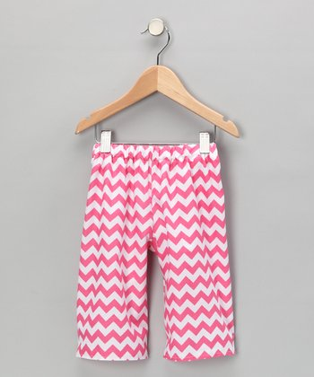 Pink & White Chevron Capri Pants - Infant, Toddler & Girls