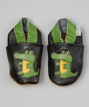 Black & Green Boy Alligator Booties