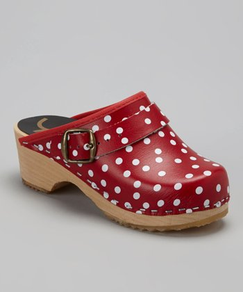 Red & White Polka Dot Clog - Kids