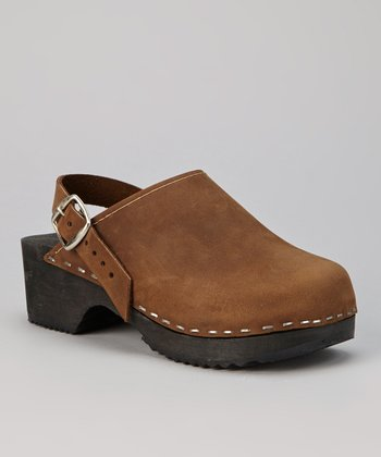 Brown Leather Clog - Kids