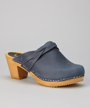 Navy Dala Leather Clog - Women