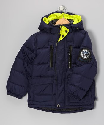 Atlantic Blue Down Puffer Coat - Boys