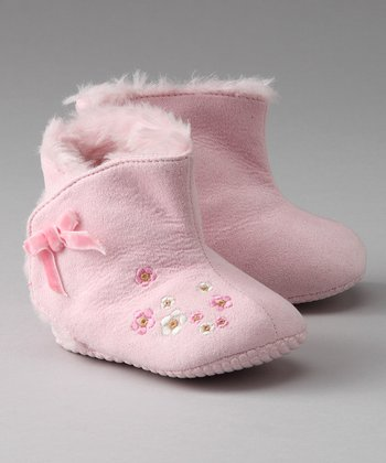 Pink Embroidered Booties