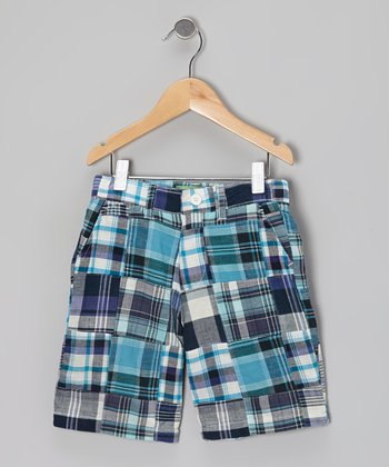 Blue Beacon Madras Jetties Shorts - Boys