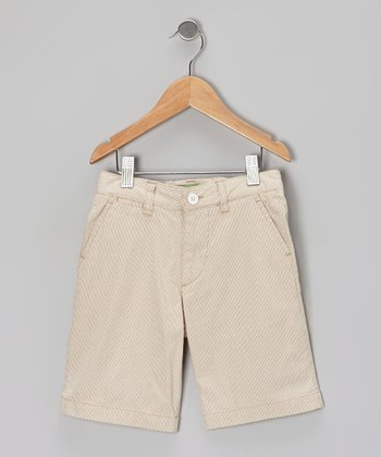 Tan Pinstripe Jetties Shorts - Boys