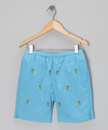 Blue Turks Mermaid Swim Trunks - Boys