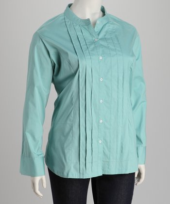 Aqua Pin Tuck Plus-Size Button-Up