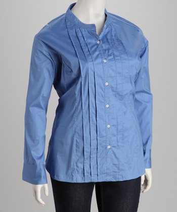 Blue Pin Tuck Plus-Size Button-Up