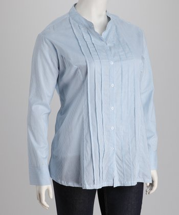 Blue & White Stripe Pin Tuck Plus-Size Button-Up
