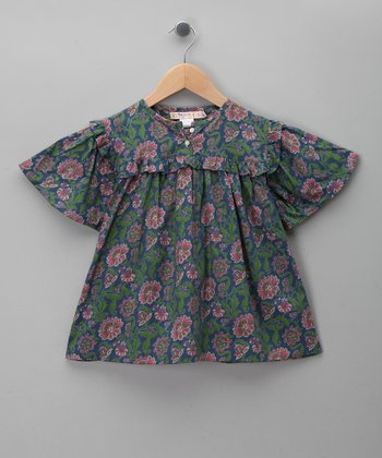 Blue Flower Hand-Blocked Top - Girls