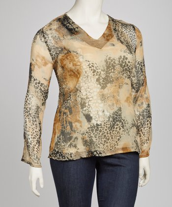 Taupe & Black Animal Print Plus-Size Tunic