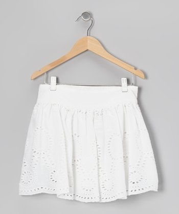 White Flower Eyelet Schiffli Skirt - Toddler & Girls