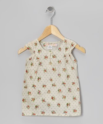 Indian Pin Dot Floral Pin Tuck Top - Toddler & Girls
