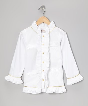 Milk White Ruffle Blouse - Toddler & Girls