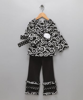 Black Swirl Sammy Tunic & Ruffle Pants - Toddler & Girls