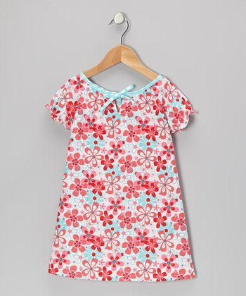 Aqua Floral Lily Dress - Toddler & Girls