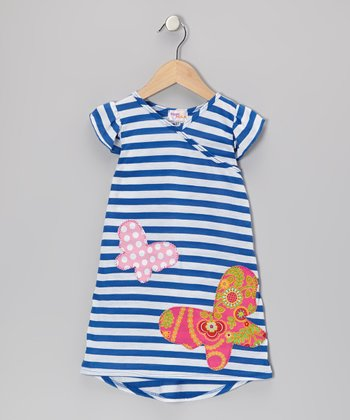 Blue Stripe Butterfly Nannette Dress - Infant, Toddler & Girls