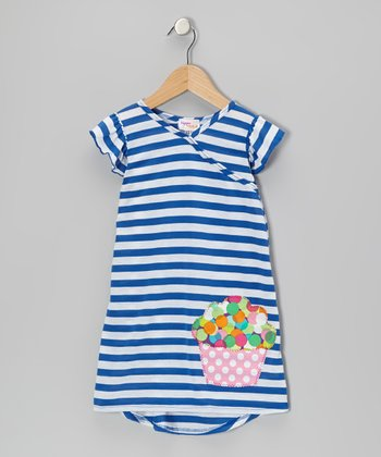 Blue Stripe Cupcake Nannette Dress - Infant, Toddler & Girls
