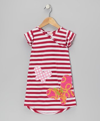 Pink Stripe Butterfly Nannette Dress - Infant, Toddler & Girls