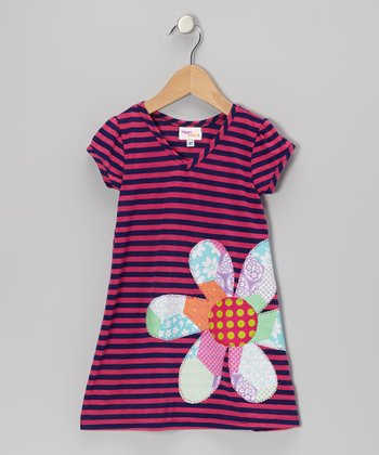 Navy & Fuchsia Stripe Flower Kara Dress - Infant, Toddler & Girls