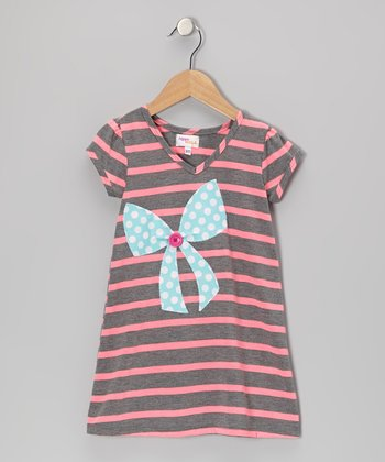Gray & Pink Stripe Bow Kara Dress - Infant, Toddler & Girls