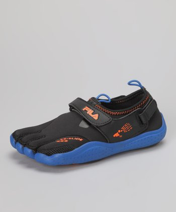 Black & Vibrant Blue EZ Slide Drainage Shoe - Kids