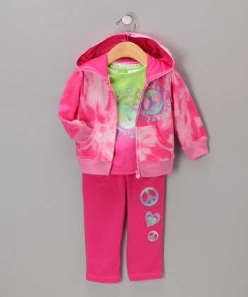 Pink Zip-Up Hoodie Set - Girls