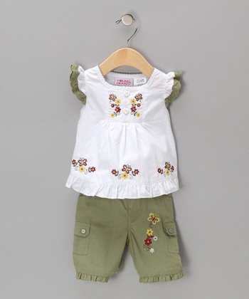 White & Green Angel-Sleeve Top & Shorts - Girls