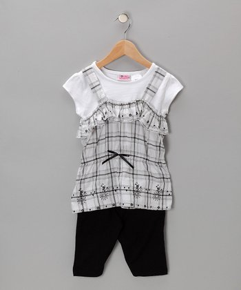 Black & White Plaid Layered Top & Shorts - Toddler & Girls