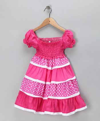Pink Smocked Polka Dot Dress - Toddler & Girls