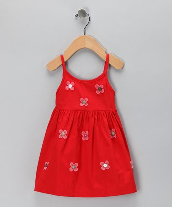 Red Daisy Dress - Infant & Toddler