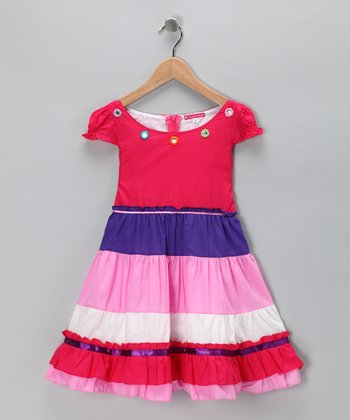 Pink & Purple Flower Tiered Dress - Toddler