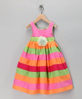 Maggie Peggy Pink & Orange Stripe Rosette Dress