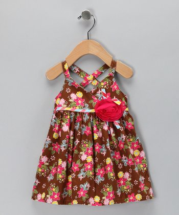 Brown Floral Rosette Dress - Infant