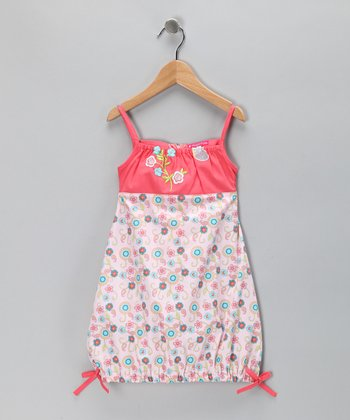 Coral Floral Rosette Dress - Toddler & Girls